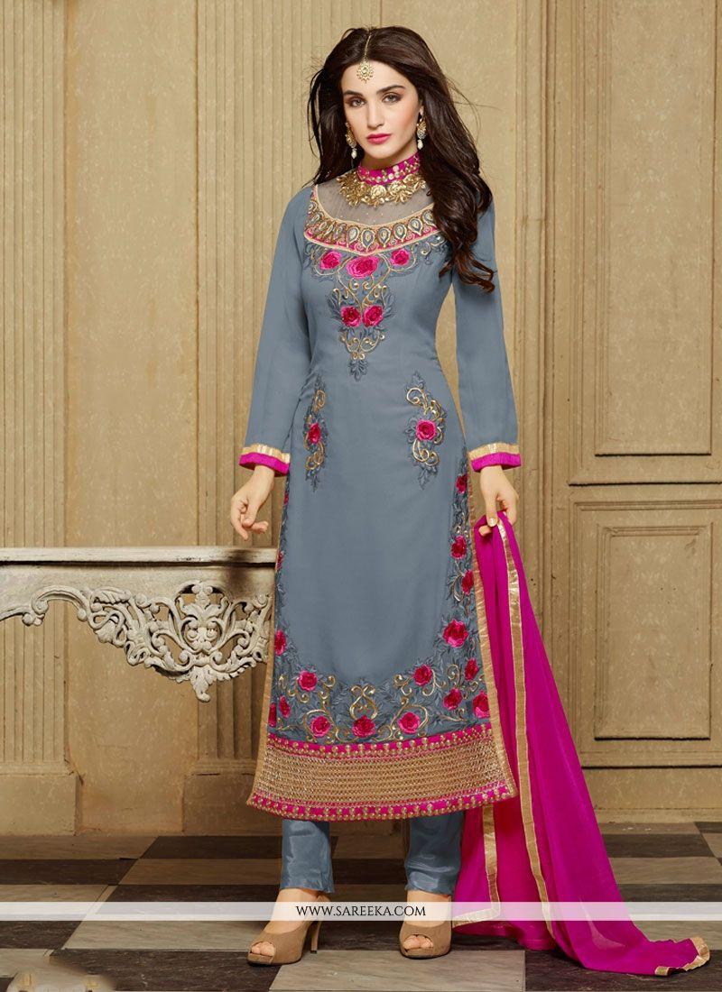 Embroidered Work Grey Faux Georgette Designer Straight Salwar Kameez