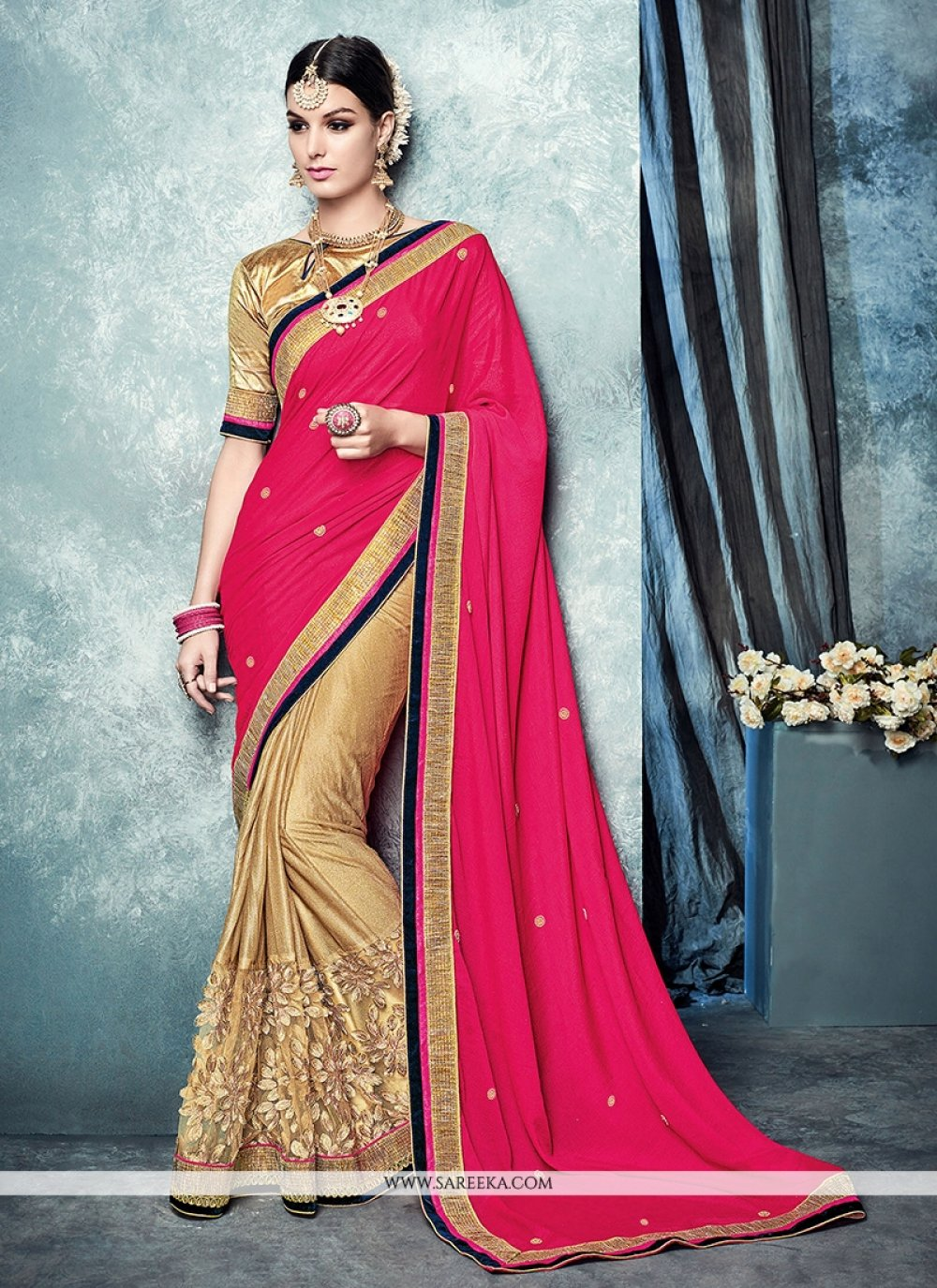 Hot Pink Patch Border Work Lycra Designer Saree