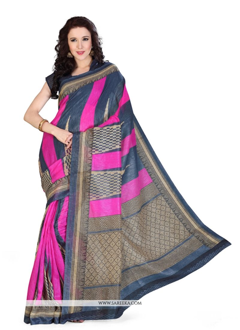 Hot Pink Print Work Art Silk Casual Saree