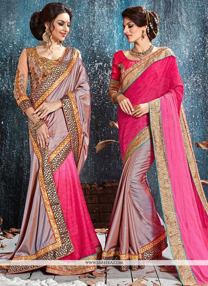 Hot Pink Silk Classic Designer Saree