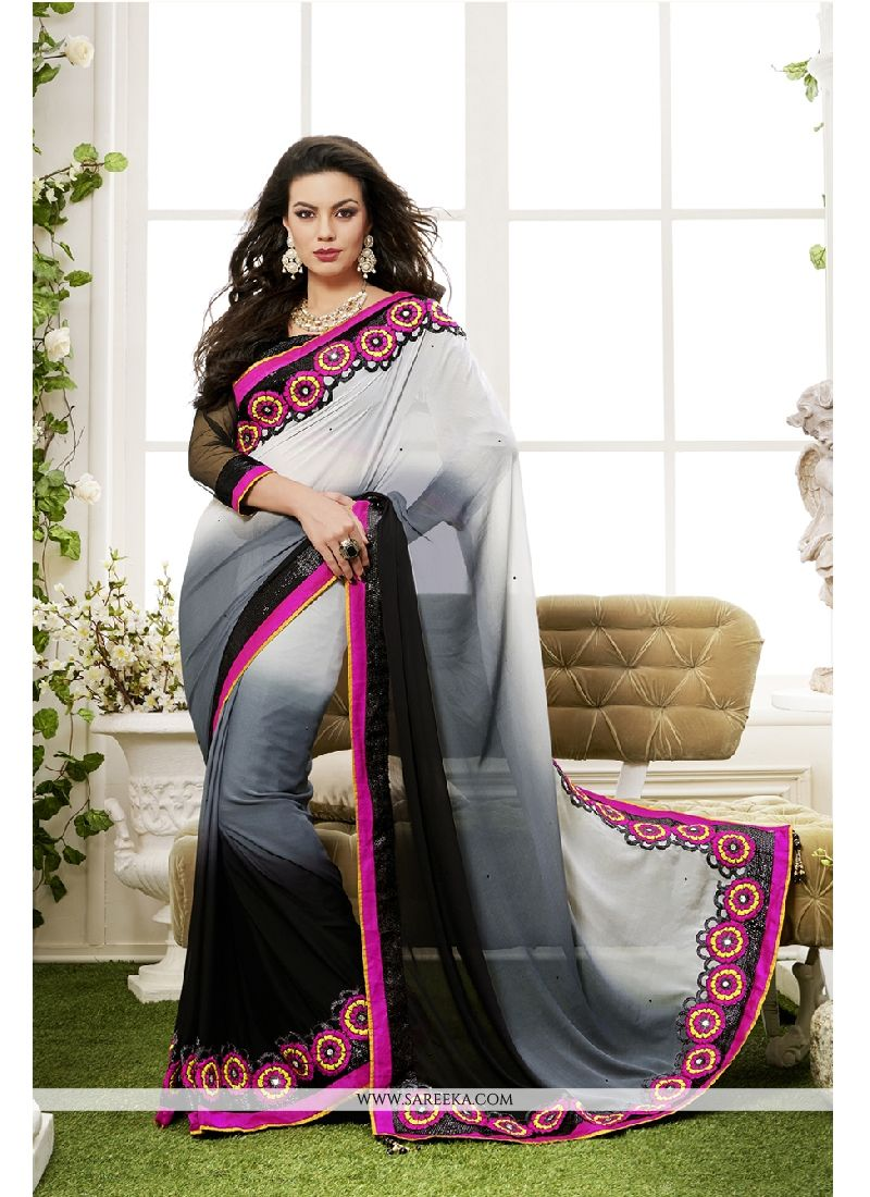Black and Grey Georgette Classic Designer Saree