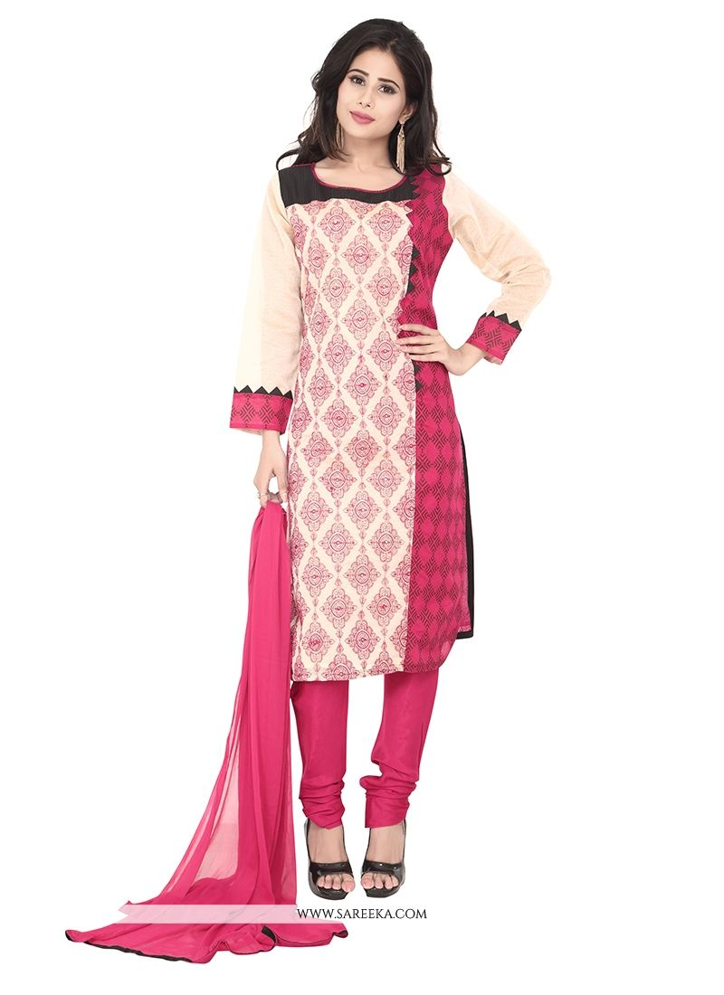 Chanderi Hot Pink and Off White Patch Border Work Designer Suit