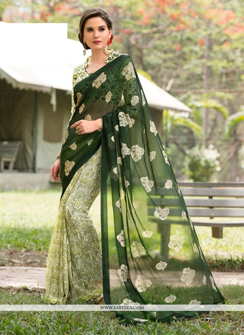 Green Aari Work Faux Chiffon Casual Saree