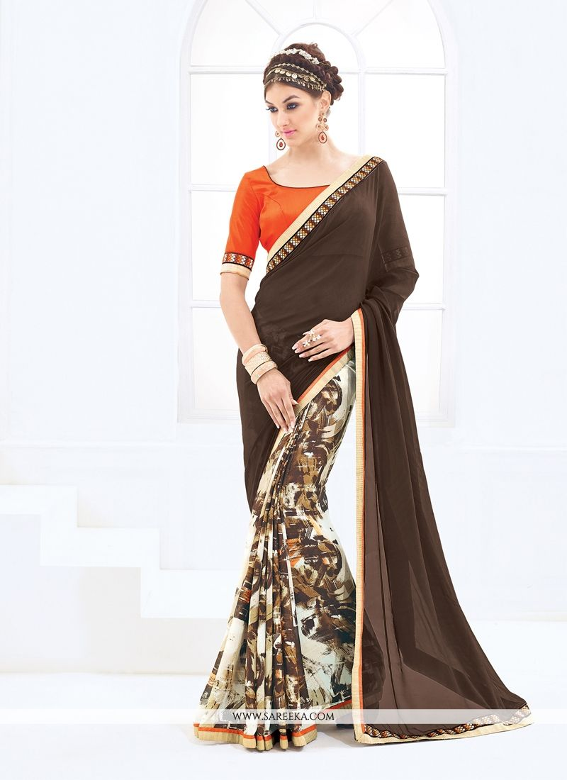 Weight Less Brown Casual Saree