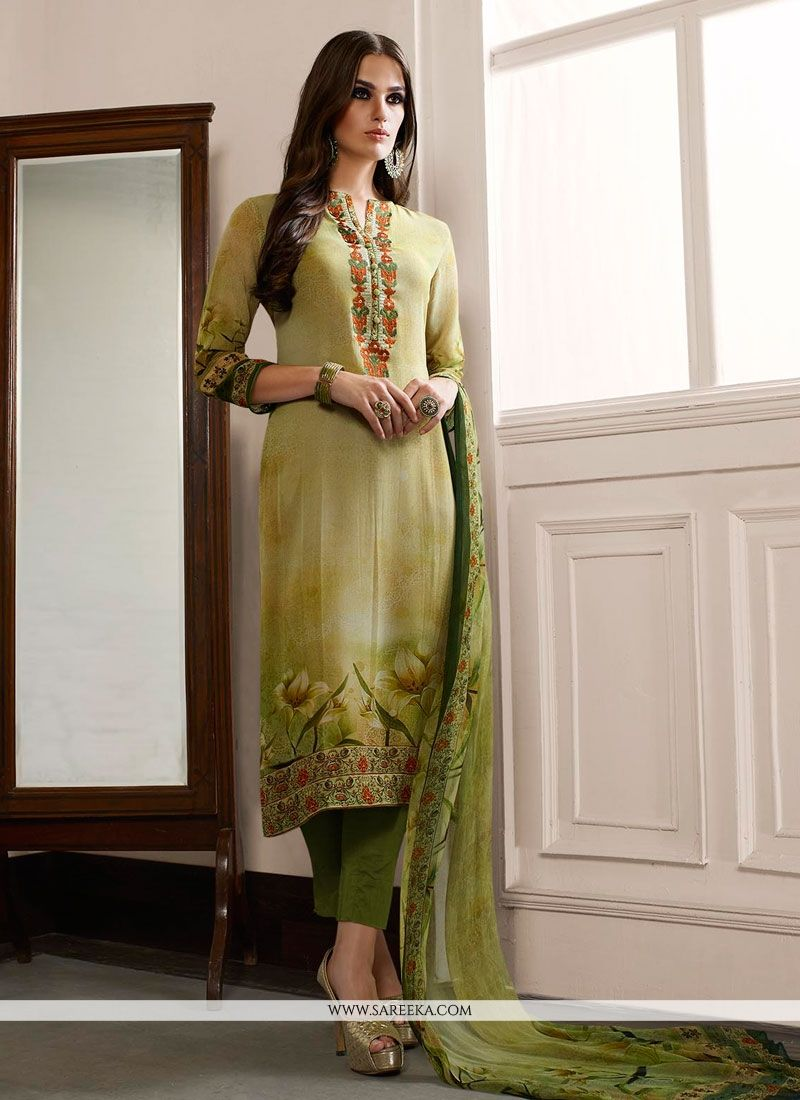 Print Work Georgette Designer Straight Salwar Suit