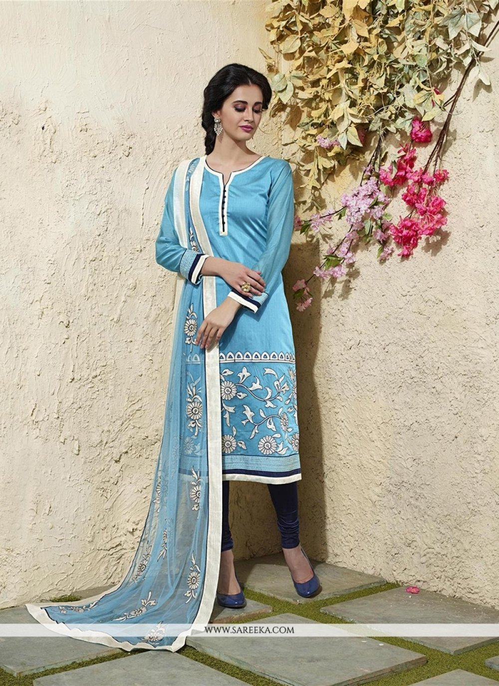 Turquoise Lace Work Chanderi Cotton Readymade Suit