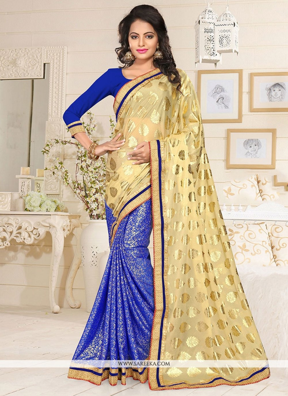 Beige and Blue Designer Half N Half saree