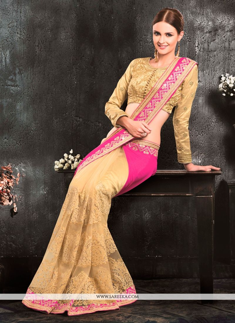Chiffon Satin Pink Patch Border Work Classic Designer Saree