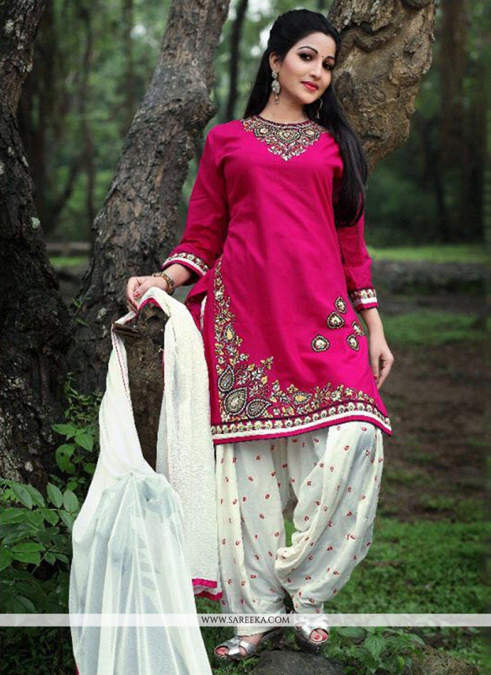 Embroidered Work Cotton   Punjabi Suit