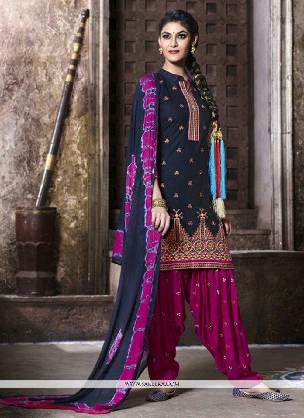 Lace Work Black Punjabi Suit