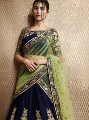 Patch Border Work Velvet Lehenga Saree