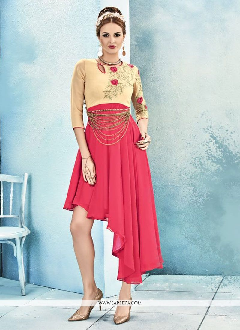Rose Pink Embroidered Work Georgette Party Wear Kurti
