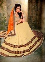 Beige and Orange Embroidered Work Designer Half N Half saree