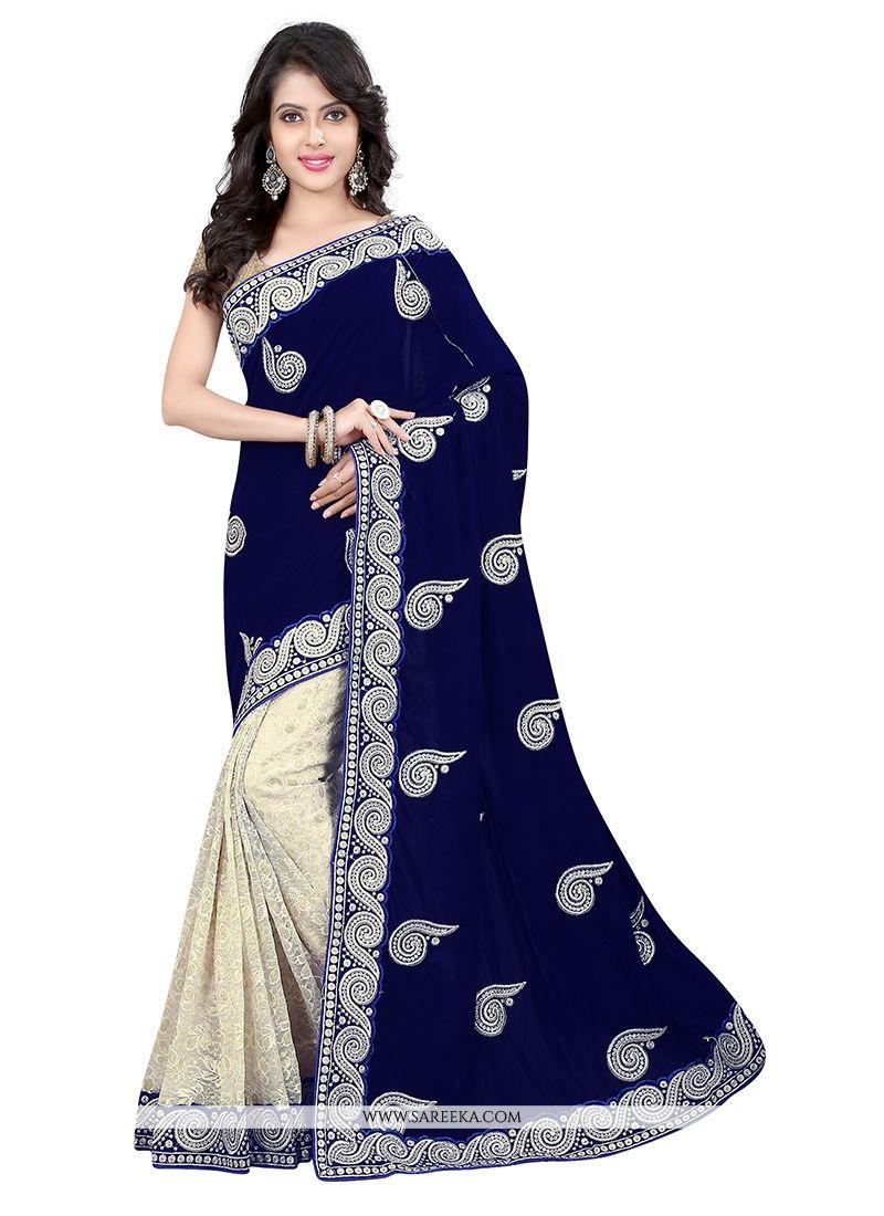 Net Navy Blue Designer Saree