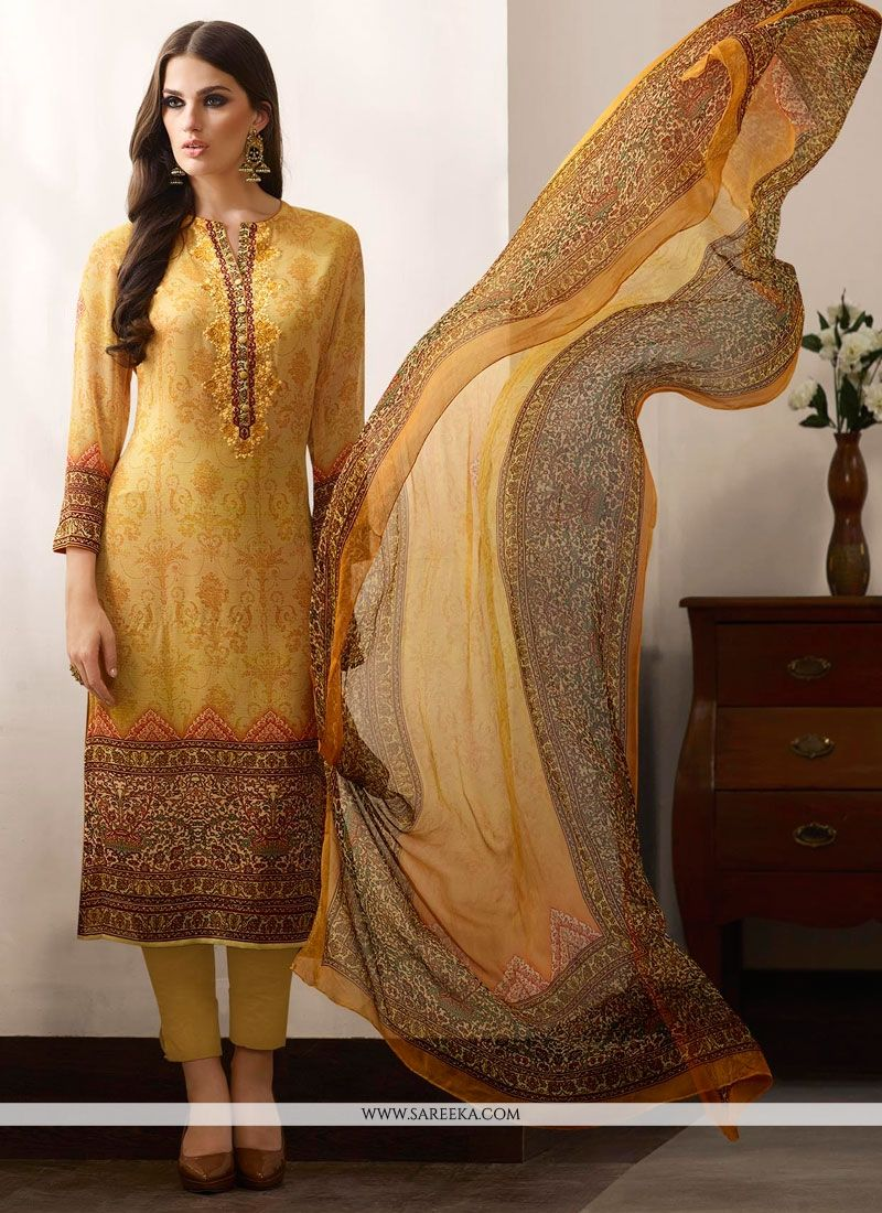 Print Work Multi Colour Designer Straight Salwar Kameez