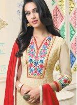 Cream Resham Work Churidar Designer Suit