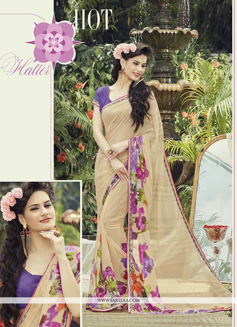 Georgette Print Work Casual Saree
