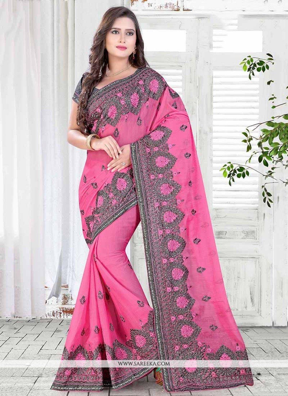 Hot Pink Classic Saree