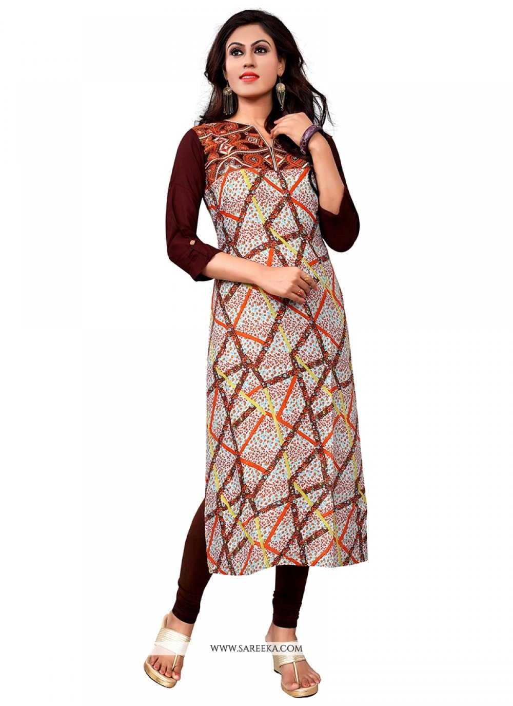 Multi Colour Embroidered Work Party Wear Kurti