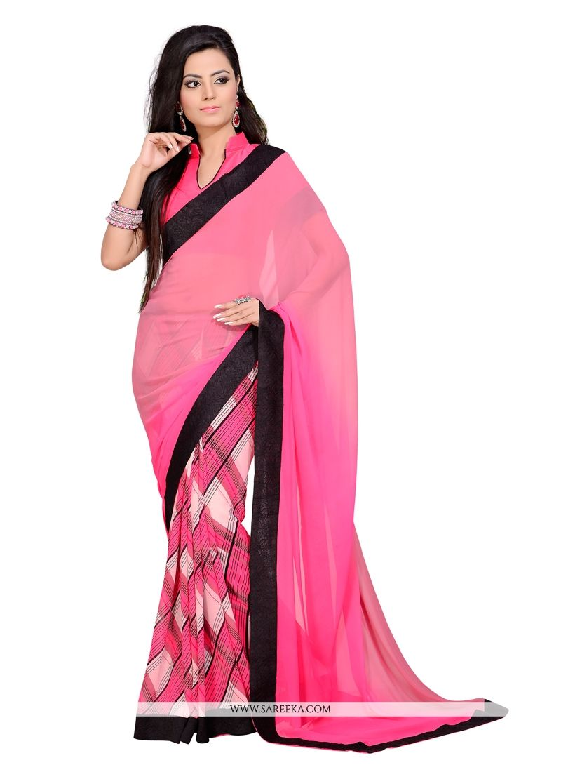 Pink Print Work Georgette Casual Saree