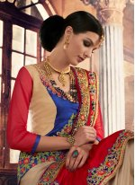 Red Embroidered Work Georgette Traditional  Saree
