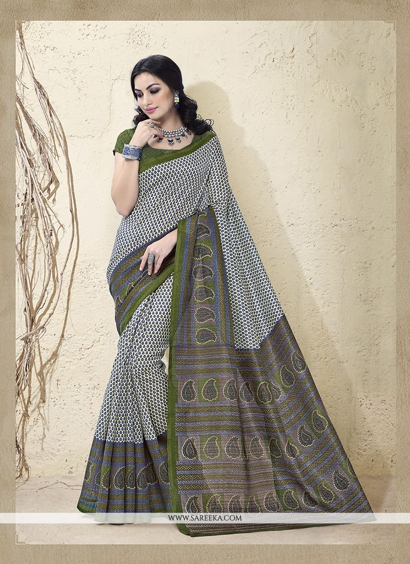 Cotton Silk Print Work Casual Saree