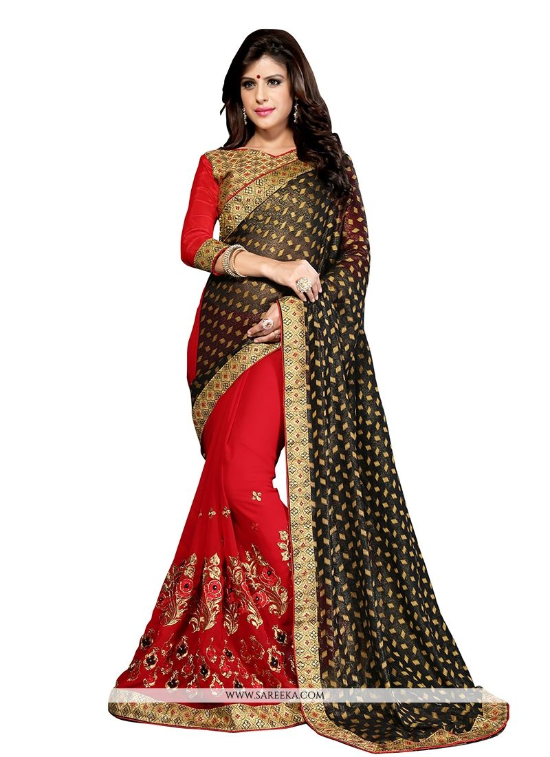 Embroidered Work Red Designer Half N Half saree