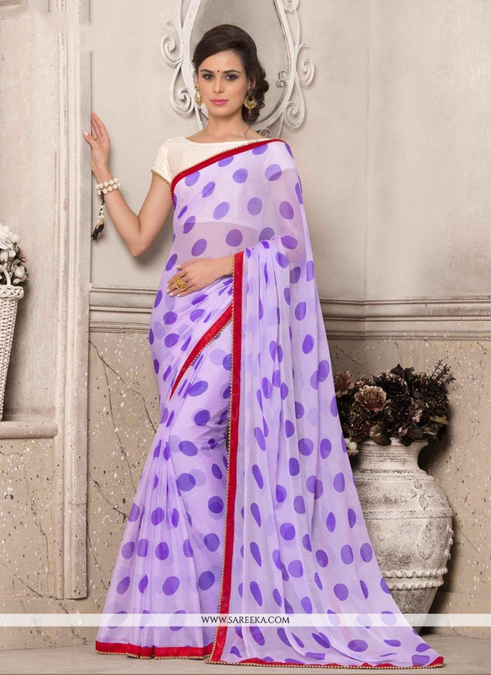 Georgette Purple Printed Saree