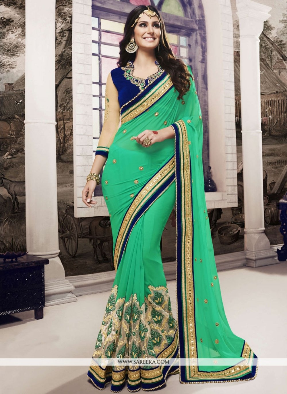 Green Embroidered Work Classic Designer Saree