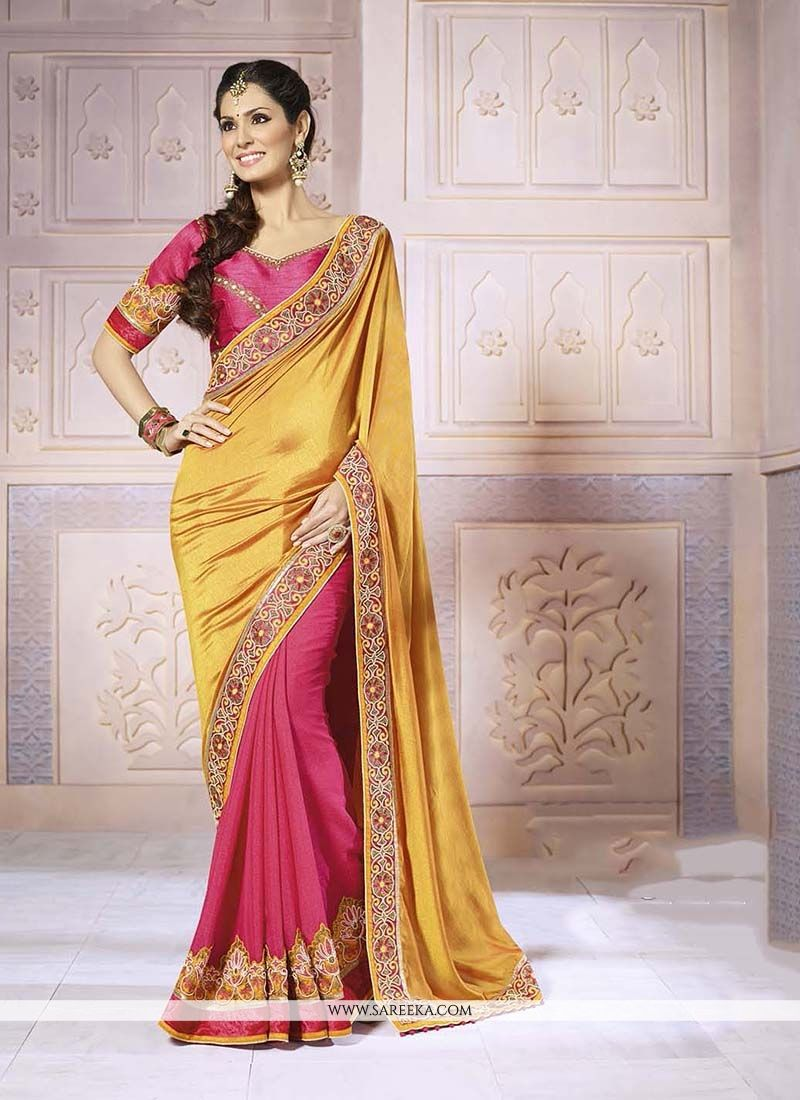 Hot Pink and Yellow Satin Classic Designer Saree