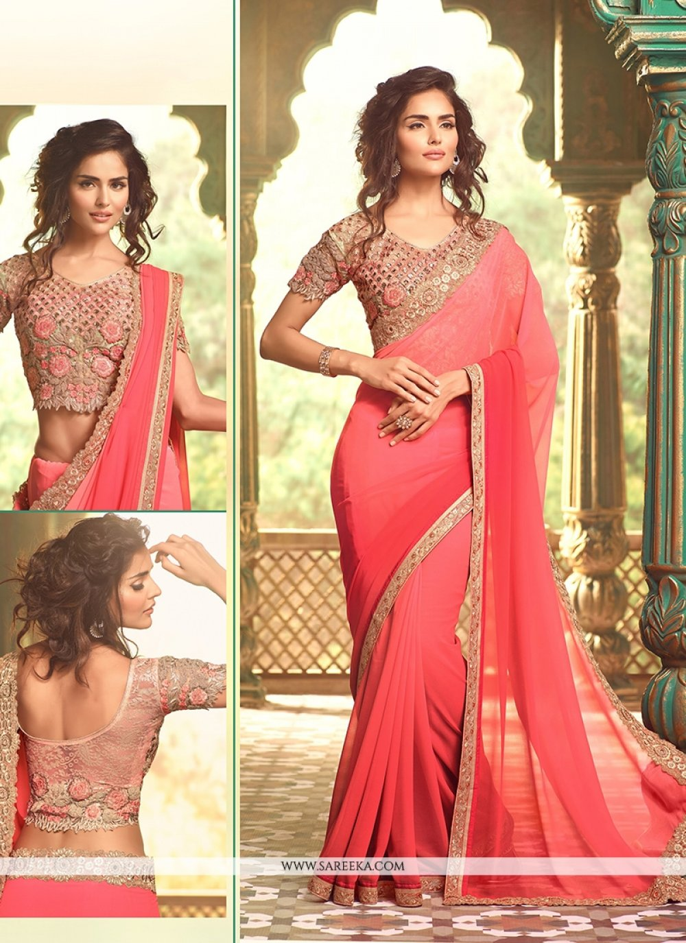 Georgette Patch Border Work Traditional  Saree