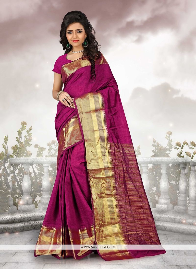 Cotton   Wine Patch Border Work Casual Saree