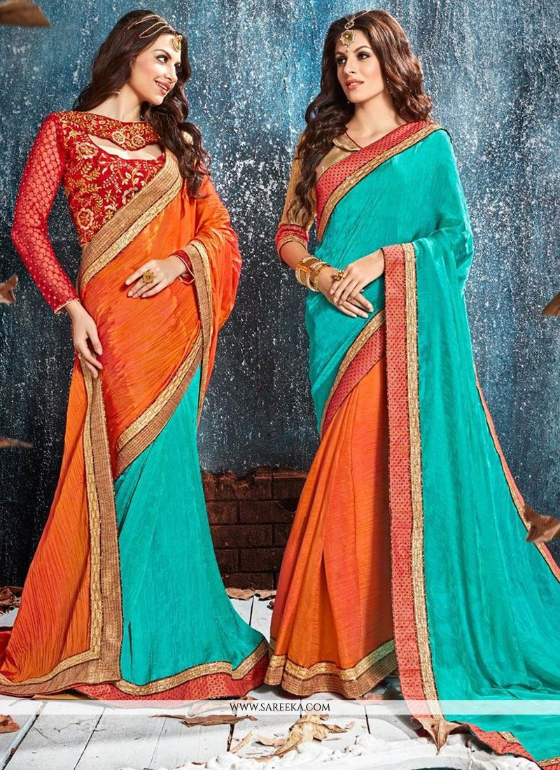 Crepe Silk Patch Border Work Classic Designer Saree