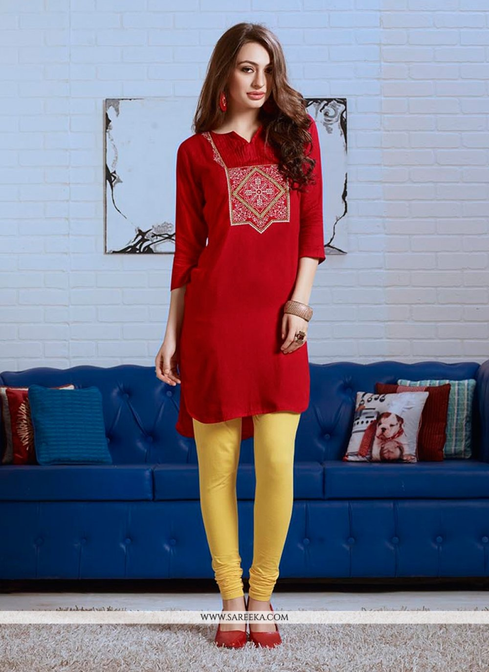 Embroidered Work Party Wear Kurti