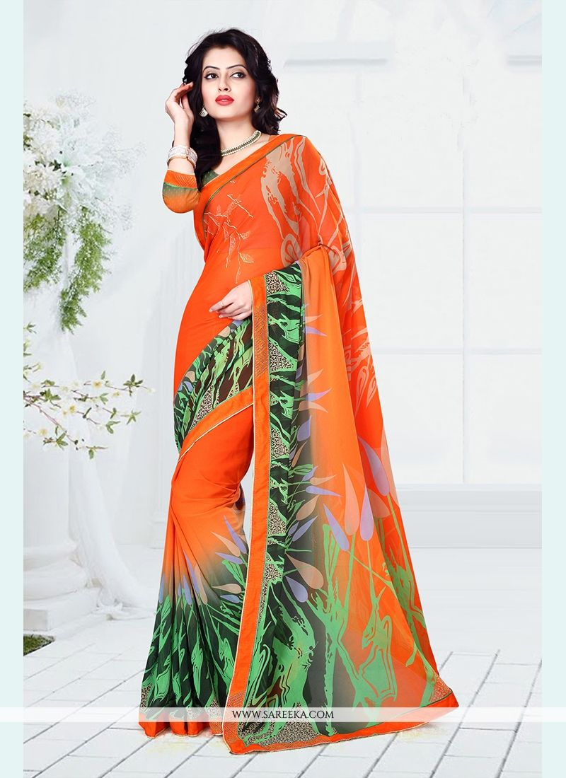 Orange Print Work Casual Saree