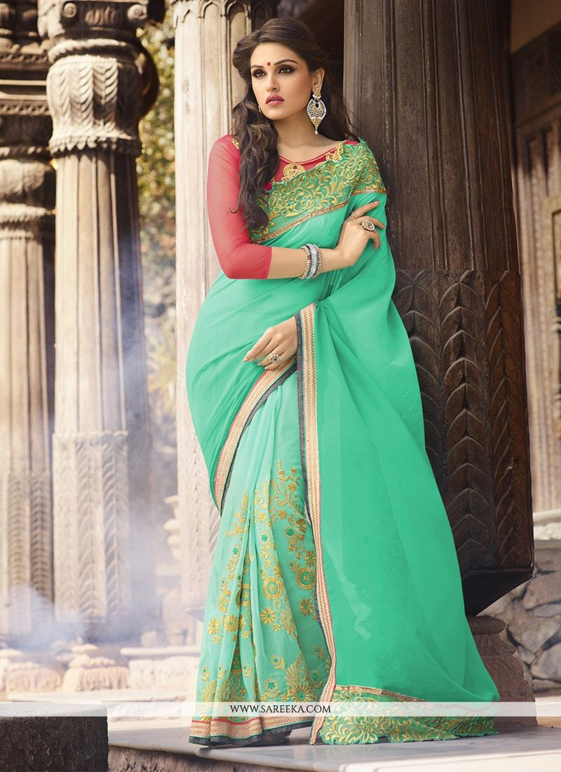 Sea Green Designer Saree