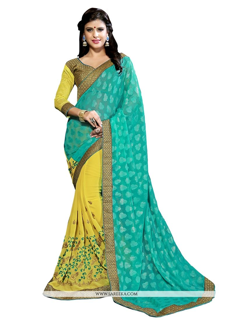 Yellow Patch Border Work Designer Half N Half saree