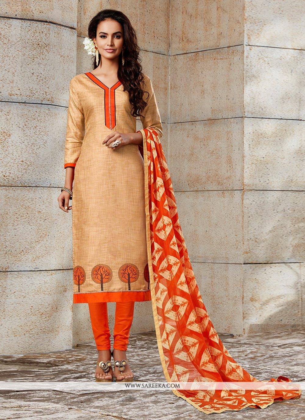 Beige Embroidered Work Chanderi Churidar Designer Suit
