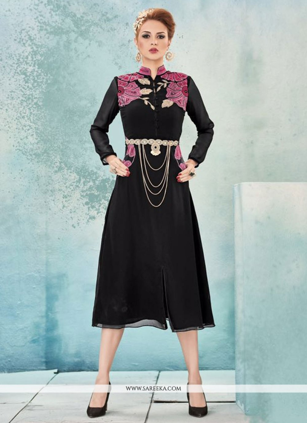 Embroidered Work Black Party Wear Kurti