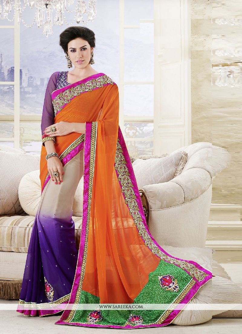 Georgette Multi Colour Patch Border Work Classic Designer Saree