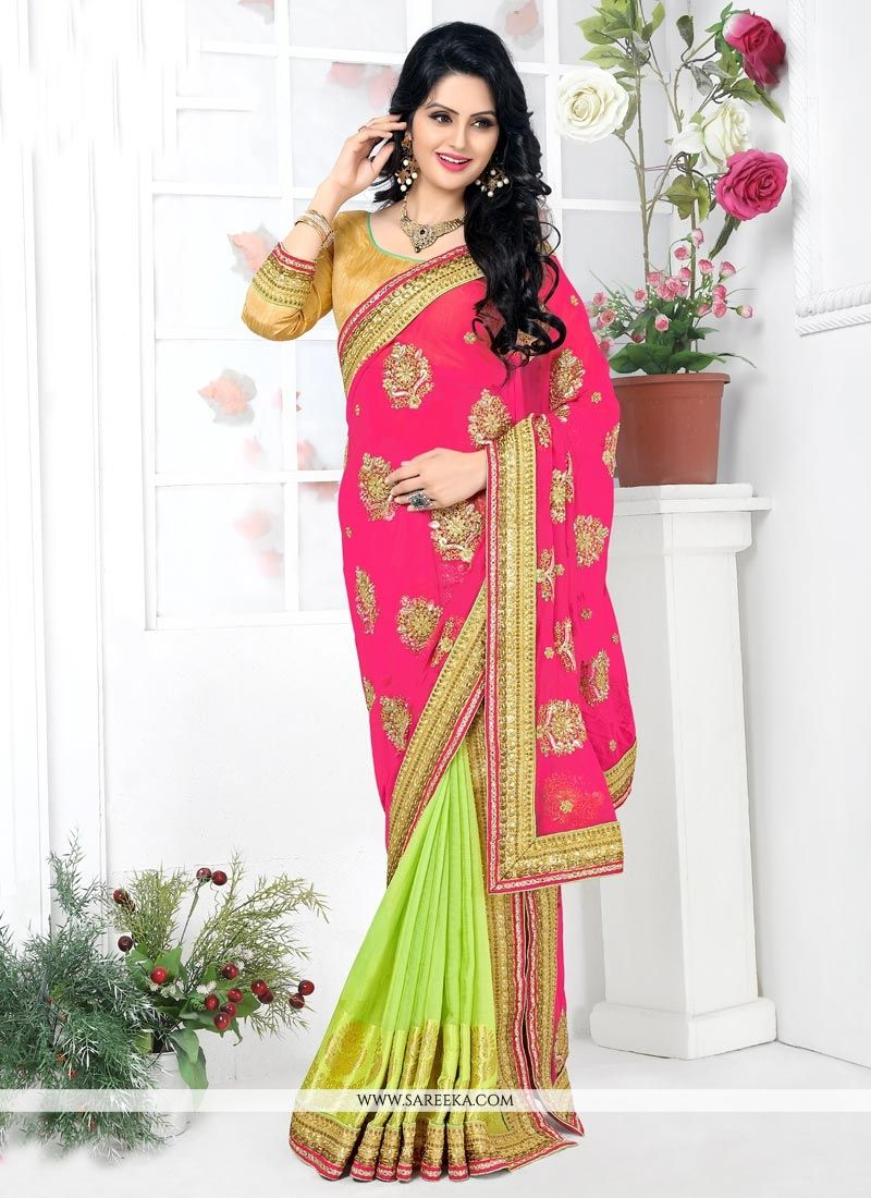Green and Pink Lehenga Saree