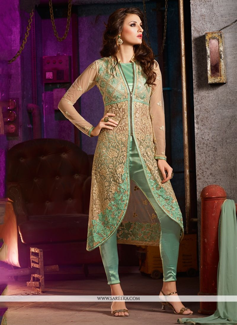 Buy Intricate Net Sea Green Pant Style Suit Online : Germany