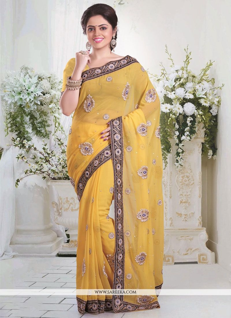 Yellow Patch Border Work Georgette Designer Saree