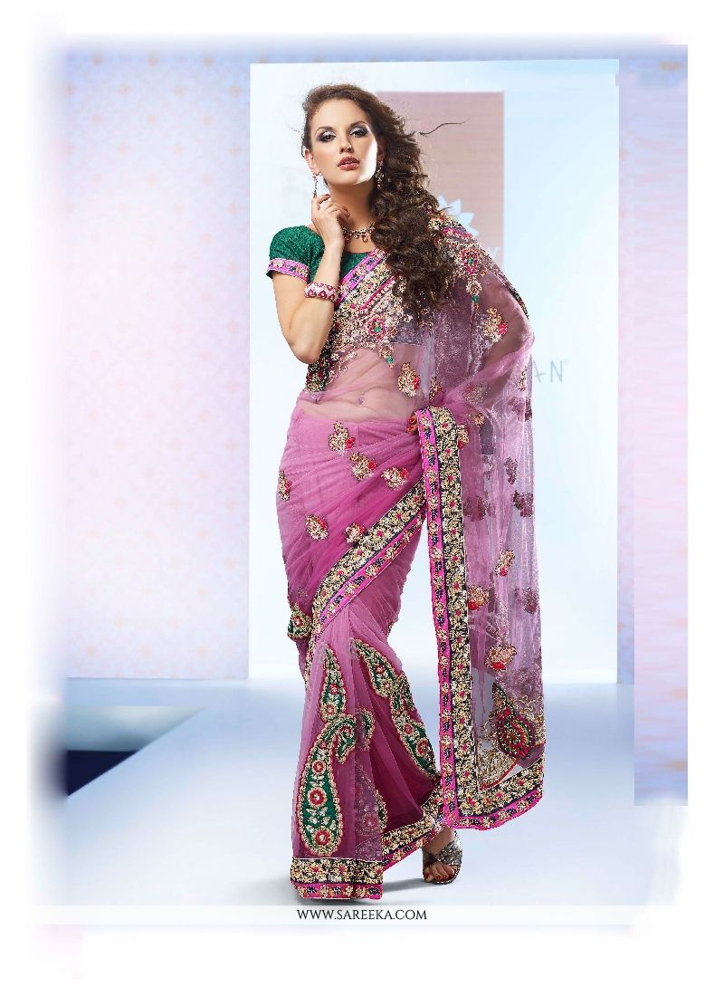 Embroidered Work Net Classic Designer Saree