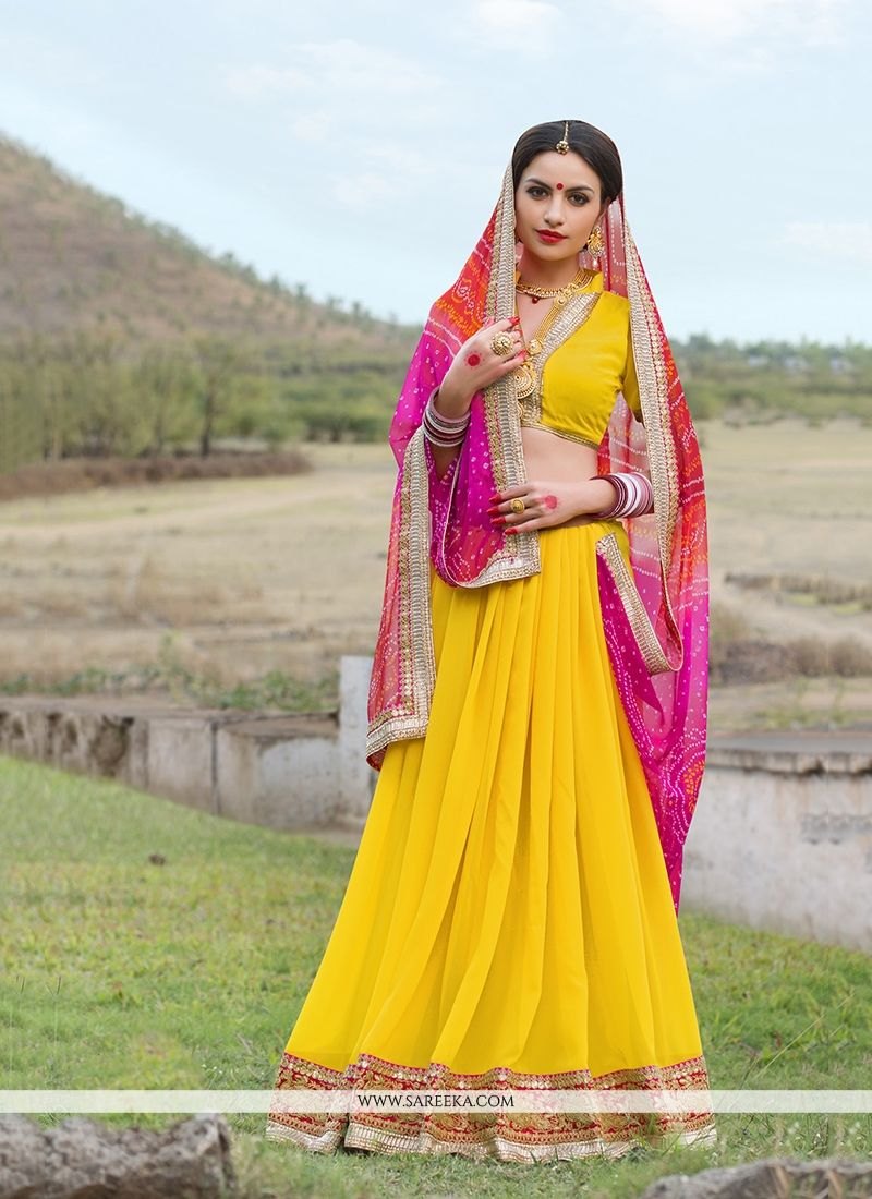 Georgette Yellow Print Work Designer Saree