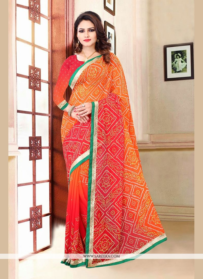 Orange Print Work Georgette Casual Saree