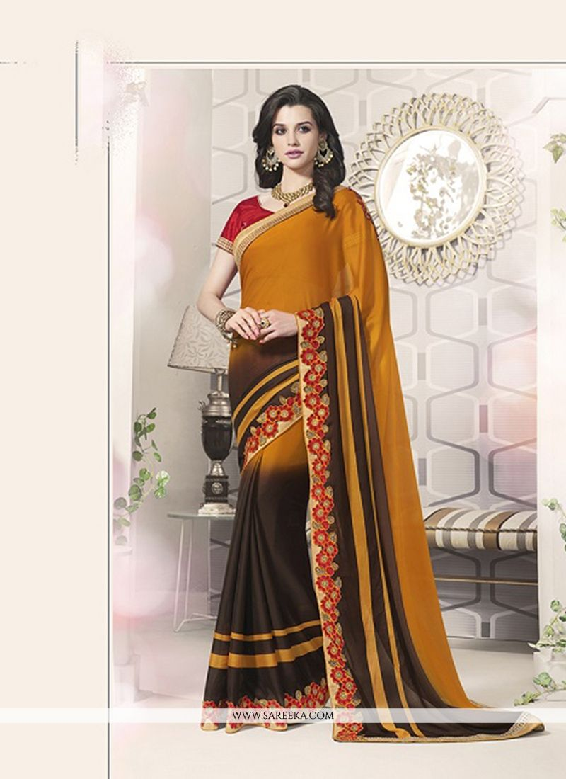 Patch Border Work Orange Designer Saree
