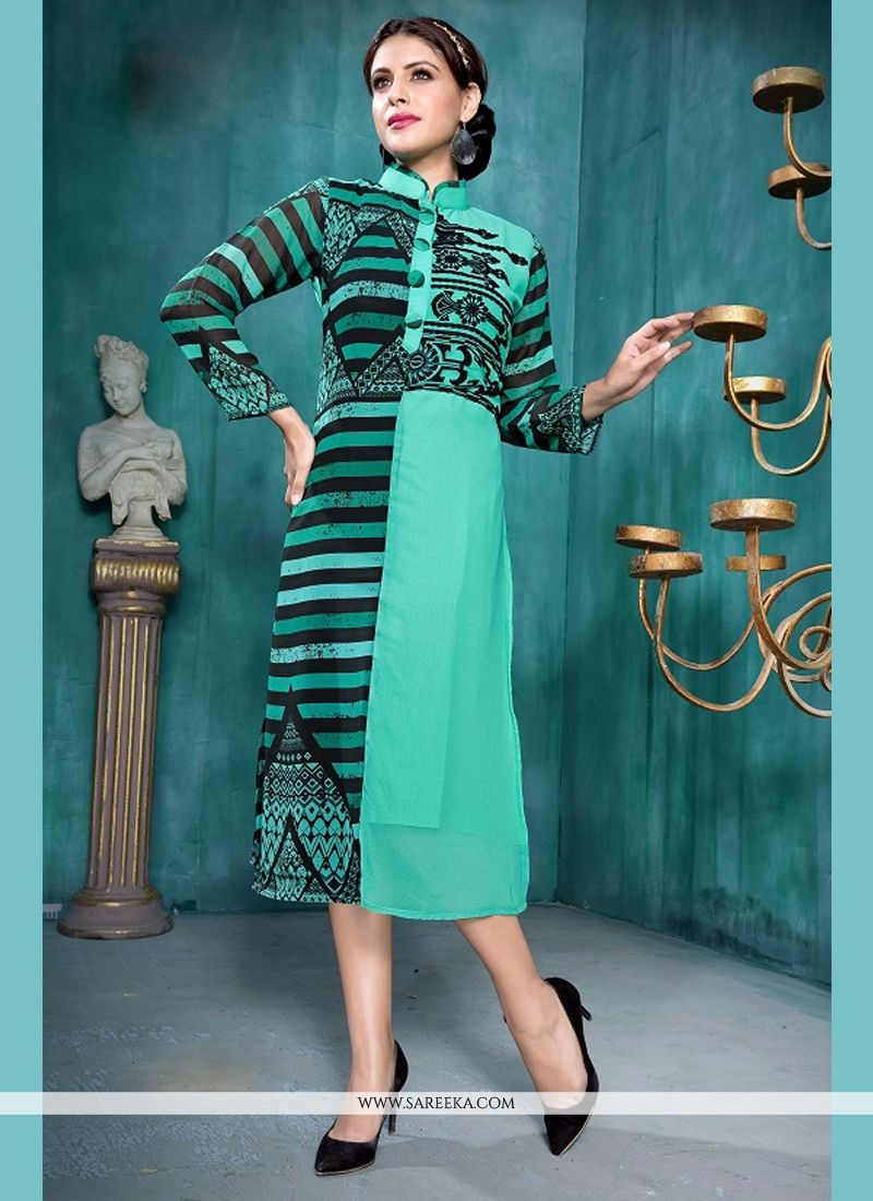 Georgette Blue Party Wear Kurti