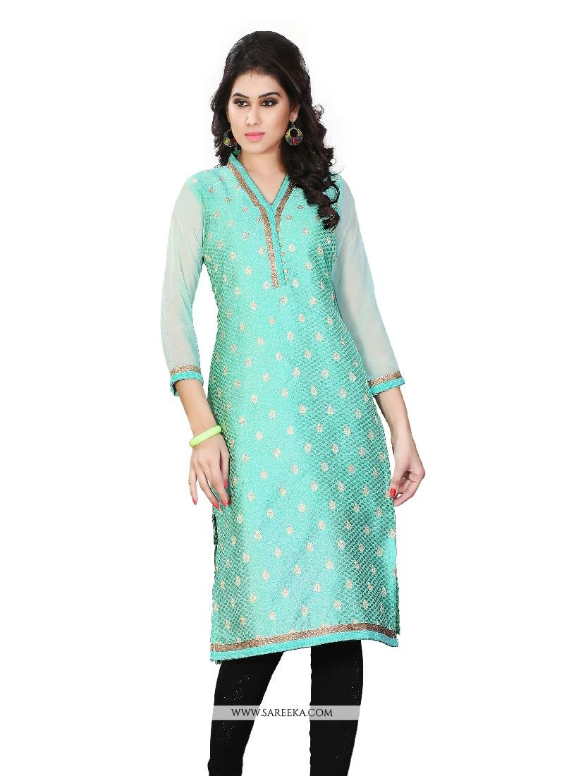 Jacquard Turquoise Lace Work Party Wear Kurti