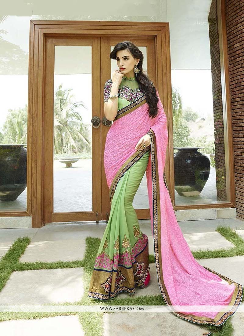 Patch Border Work Bamber Georgette  Classic Designer Saree